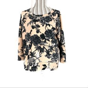 Zara W&B Collection Floral French Terry Sweatshirt